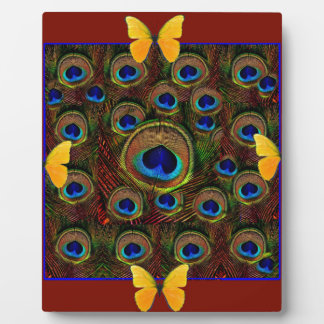 Yellow Butterflies Peacock Feather Eyes Brown ART Plaques
