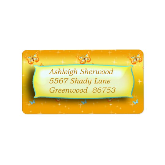 Yellow Butterfly Address Label