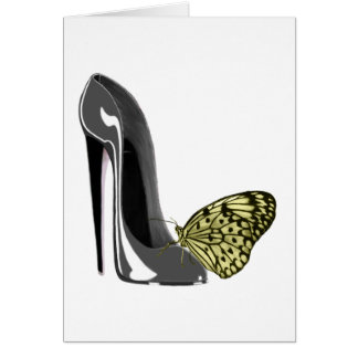 Yellow Butterfly and Grey Stiletto Shoe Art Gifts Card