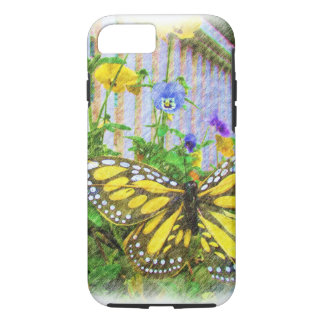 Yellow Butterfly and Viola Flowers iPhone 7 Case