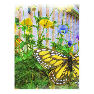 Yellow Butterfly and Viola Flowers Postcard