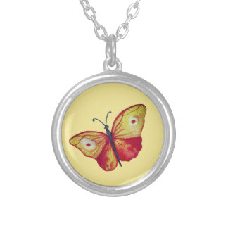 Yellow Butterfly Art  Silver Plated Round Necklace