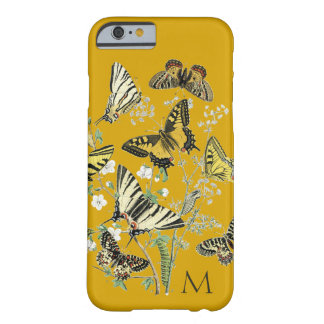 Yellow Butterfly Botanical, Monogrammed Barely There iPhone 6 Case