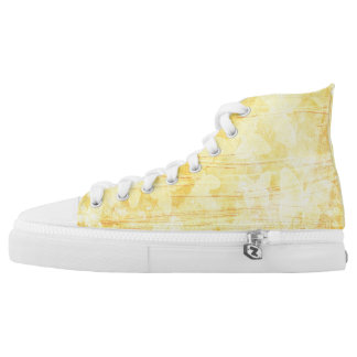 Yellow Butterfly Design High Tops