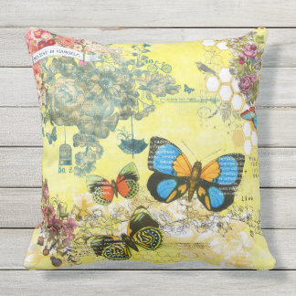 Yellow Butterfly Floral outdoor pillow