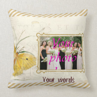 Yellow Butterfly Flower Frame Throw Pillow