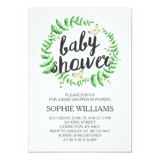 Yellow Butterfly Green Wreath Baby Shower 13 Cm X 18 Cm Invitation Card