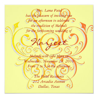 Yellow butterfly 13 cm x 13 cm square invitation card