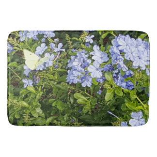 Yellow Butterfly Lavender Blue Flowers in a Park Bath Mat