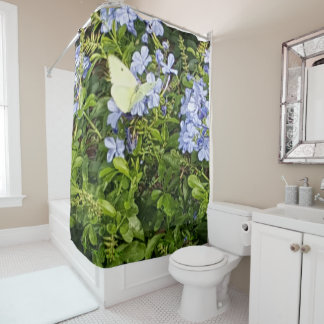 Yellow Butterfly Lavender Blue Flowers in a Park Shower Curtain