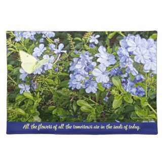 Yellow Butterfly Lavender Blue Plumbago Flowers Placemat