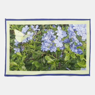 Yellow Butterfly Lavender Blue Plumbago Flowers Tea Towel