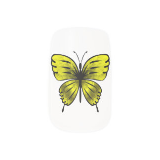 yellow butterfly minx nail art
