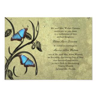 Yellow Butterfly Pair Wedding Invitation