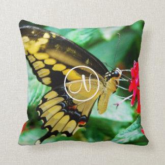 Yellow butterfly photo custom monogram pillow