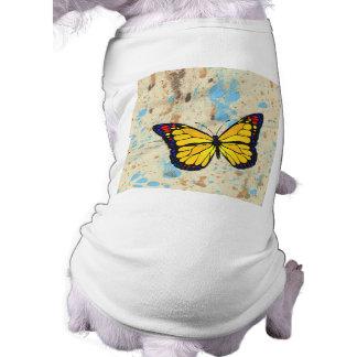 Yellow butterfly sleeveless dog shirt