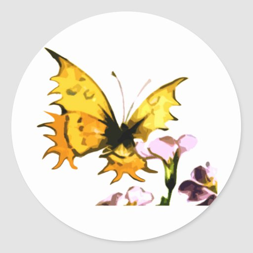 Yellow Butterfly Round Sticker