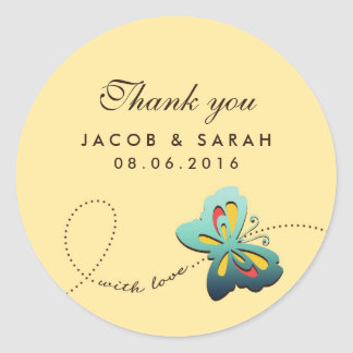 Yellow Butterfly Swirls Wedding Thank You Sticker