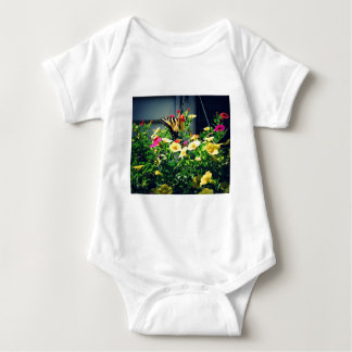 Yellow Butterfly with Flowers Photo Baby Bodysuit