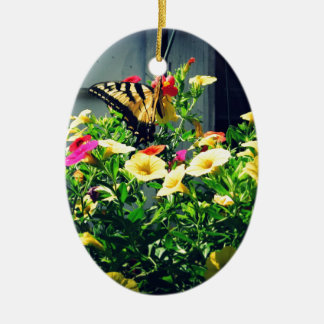 Yellow Butterfly with Flowers Photo Ceramic Ornament