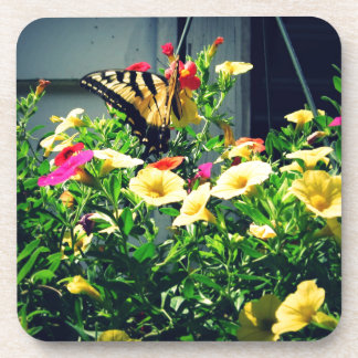 Yellow Butterfly with Flowers Photo Coaster