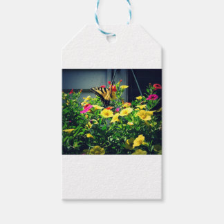 Yellow Butterfly with Flowers Photo Gift Tags