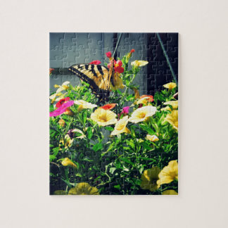Yellow Butterfly with Flowers Photo Jigsaw Puzzle