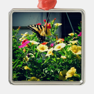 Yellow Butterfly with Flowers Photo Metal Ornament
