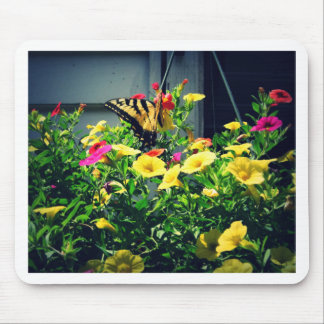 Yellow Butterfly with Flowers Photo Mouse Pad