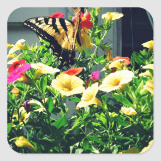 Yellow Butterfly with Flowers Photo Square Sticker