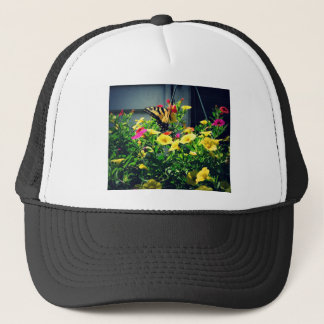 Yellow Butterfly with Flowers Photo Trucker Hat