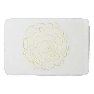 Yellow Cabbage Rose Bath Mat