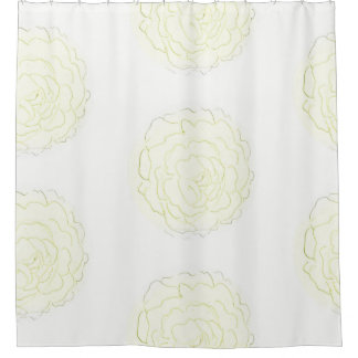 Yellow Cabbage Rose Shower Curtain