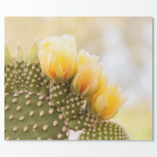 Yellow cactus flowers as they bloom in  Arizona Wrapping Paper