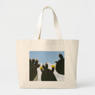 Yellow Cactus Flowers Canvas Bags