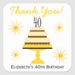 Yellow Cake 40th Birthday Party Favour Stickers