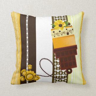 Yellow Cake  + ice cream cone Pillow Throw Cushion