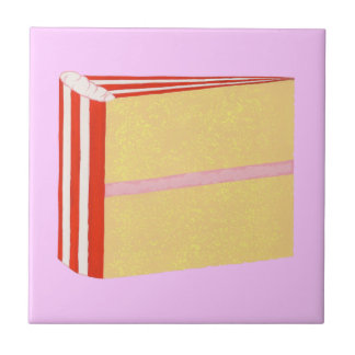 Yellow Cake, Red, White, & Pink Icing Trivet Small Square Tile