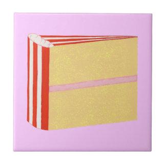 Yellow Cake, Red, White, & Pink Icing Trivet Tile