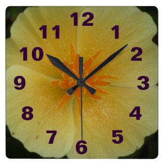 Yellow California Flower Square Wall Clock