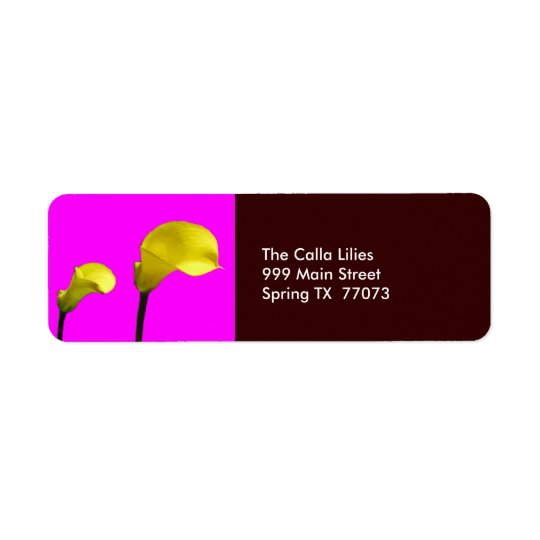 Yellow Calla Lilies with Pink Return Label