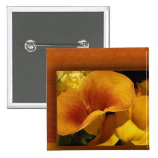 Yellow calla lily 15 cm square badge