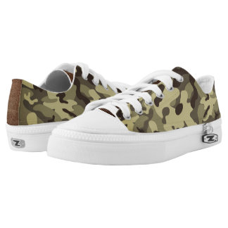Yellow Camouflage Low Top Shoes Printed Shoes