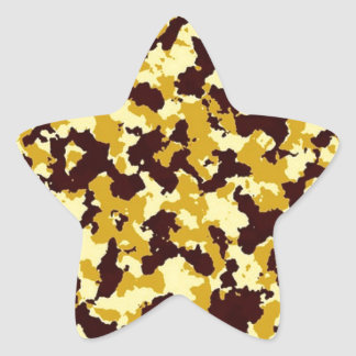 Yellow Camouflage Star Sticker