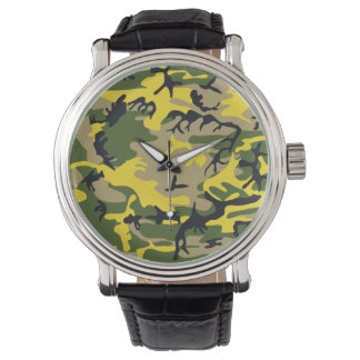 Yellow Camouflage Wrist Watches