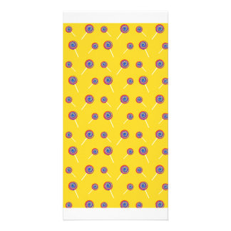 yellow candy pattern picture card