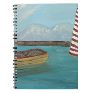 Yellow Canoe Large Spiral Notebook