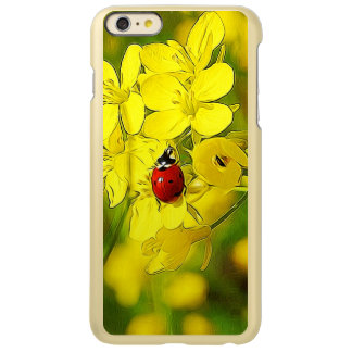 Yellow Canola Flower Good Luck Red Ladybug