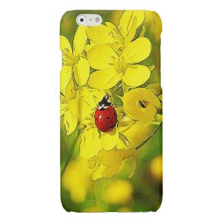 Yellow Canola Flower Good Luck Red Ladybug