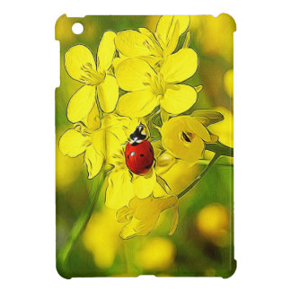 Yellow Canola Flower Good Luck Red Ladybug Cover For The iPad Mini